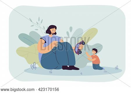 Happy Mom Giving Car Toy To Her Little Son. Mother And Baby Boy Playing, Spending Time Together Flat