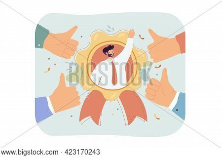 Best Employee With Outstanding Reputation. Business Person Popular With Colleagues Flat Vector Illus
