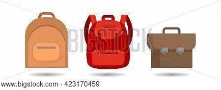 Backpack. Rucksack. Knapsack. Schoolbag. Sack Vector Clip Art Set.