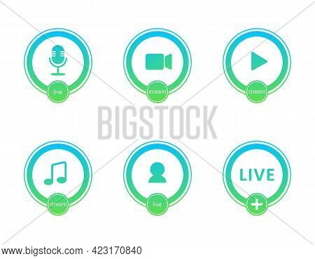 Set Of Live Streaming Icons. Gradient Symbols And Buttons Of Live Streaming, Broadcasting, Online We