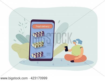 Girl Ordering Sushi Through Mobile App Flat Vector Illustration. Happy Female Person Sitting And Ord