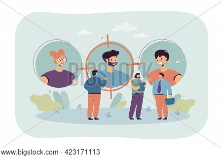 Business People Finding Job Candidates. Looking For Employees With Talent Flat Vector Illustration.