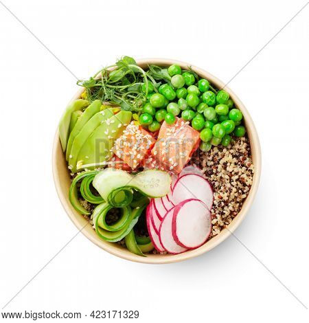 Poke bowl with salmon, avocado, quinoa and cucumber. Isolated on white background. Traditional hawaiian meal. Top view flat lay
