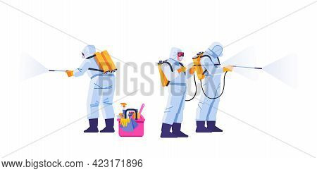 People In Virus Protective Suits And Mask Disinfecting Buildings Of Coronavirus With The Sprayer. Ho