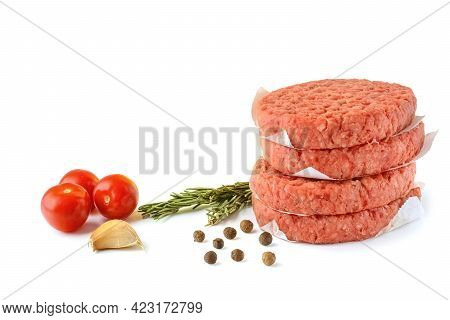 Raw Beef Patties For Making A Burger.isolated On A White Background.selective Focus.