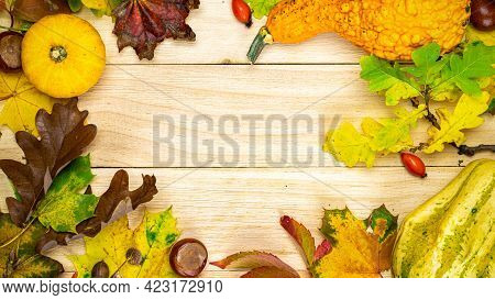Thanksgiving Holiday. Autumn Harvest With Orange Pumpkin, Fall Dried Leaves, Red Berries And Acorns,