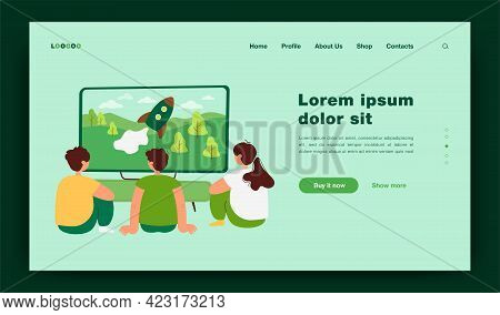 Back View Of Kids Watching Tv Show Isolated Flat Vector Illustration. Cartoon Children Sitting In Fr
