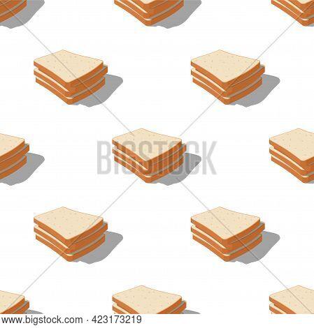 Bright Realistic Tasty Toasts, Breakfast Seamless Pattern