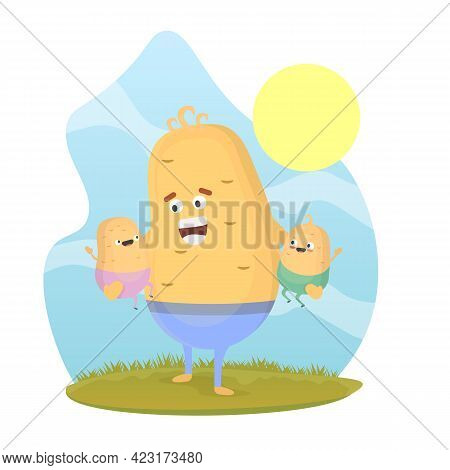 Potato Man Character Walking With Young Potato Boys. Smiling Dad With Sons. Joyful Father Playing Wi