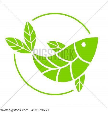 Plant Based Fish Icon. Vegan Product. Fins In The Form Of Green Leaves. Organic Natural Vegetarian F