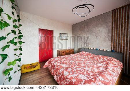 Harmony Of Contrast Red And Gray Colors. King-size Bed With Pattern Bedcover, One Classical Nightsta