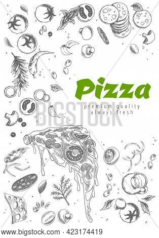 Pizza Line Banner. Engraved Style Doodle Background. Savoury Pizza Ads With Illustration Rich Toppin