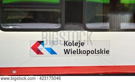 Poznan, Poland. 4 June 2021. Sign Koleje Wielkopolskie. Company Signboard Koleje Wielkopolskie