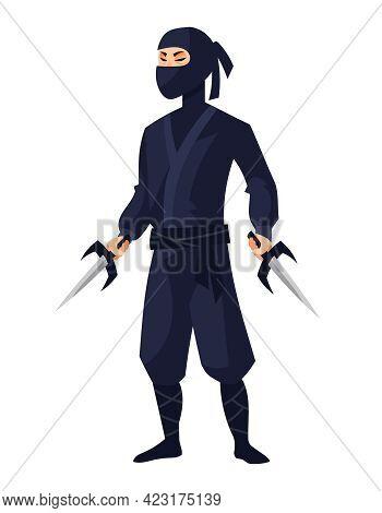 Ninja Holding Sai. Japan Character In Cartoon Style.