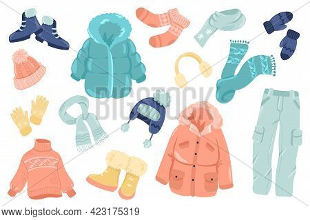 Winter Clothing Cute Stickers Isolated Set. Collection Of Shoes, Socks, Scarf, Mittens, Gloves, Hat,