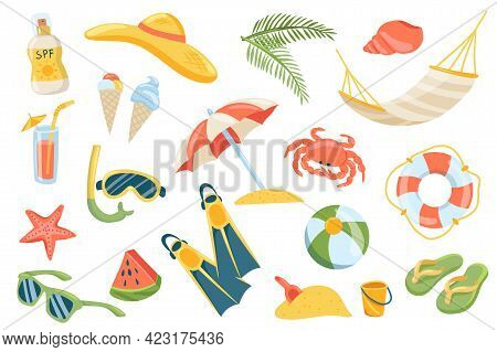 Summer Vacation Cute Stickers Isolated Set. Collection Of Sunscreen, Hat, Palm, Shell, Hammock, Ice