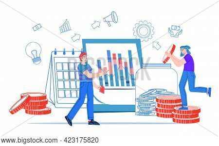 Financial Management And Profitable Investment Concept With Close-knit Team Of Business People, Flat