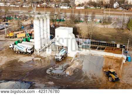 Ready Mix Concrete Batching Plant. Pouring Concrete Through To A Ready Mixed Truck. Drone View. Out