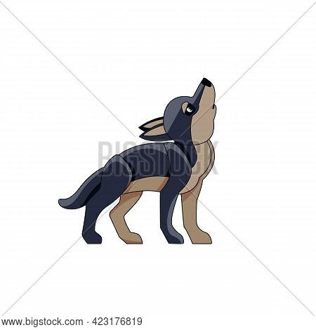 Black Wolf Cub Howls In The Sky. Cartoon Character Of A Kid Mammal Animal. A Wild Forest Creature Wi