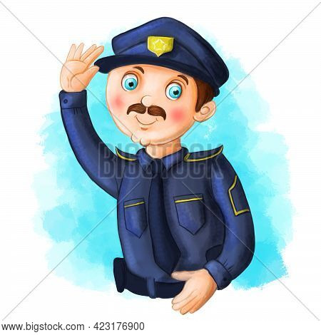 Children Cartoon Illustration Image Of A Policeman, A Man In A Police Uniform, Blue Uniform With A T