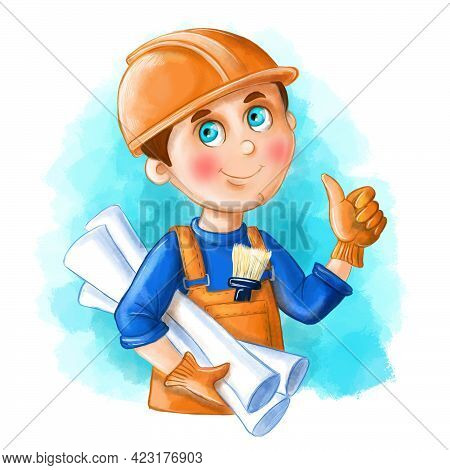 Children Illustration Of A Cartoon Image Of A Builder, A Man In The Form Of A Builder, An Engineer,