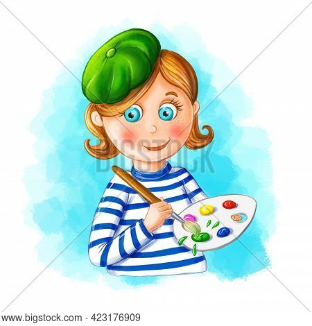 Children Illustration Of A Cartoon Image Of An Artist, A Girl, A Girl In A Green Beret And A Vest, H