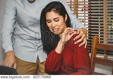 Concept Harassment Of Women In The Office : Beautiful Woman Uses Her Hand To Prevent The Harassment