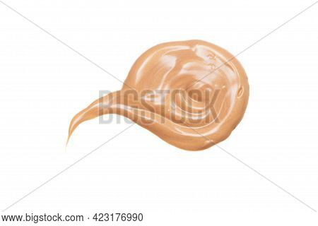 Light Beige Smear Of Highlighter Or Luminizer Isolated On White Background.