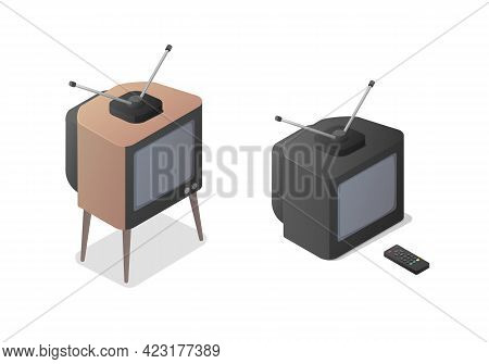 Classic Analog Television Set And Remote Control. Isometric Vector Illustration On White Background.