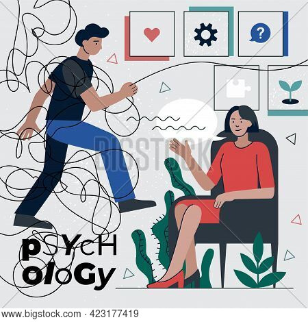 Psychotherapist Counseling Mental Health Problems Man. Psychotherapy Solution Psychological Disorder