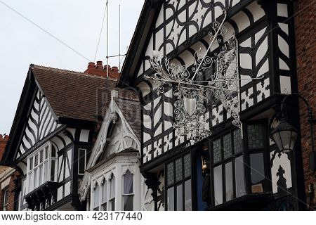 Chester, Great Britain - September 14, 2014: There Are Gables Of Old Half-timbered Houses In Old Tow