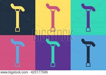 Pop Art Walking Stick Cane Icon Isolated On Color Background. Vector