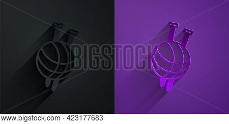 Paper Cut Yarn Ball With Knitting Needles Icon Isolated On Black On Purple Background. Label For Han