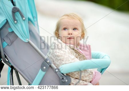 Adorable Toddler Girl Is Riding Into Baby Stroller During Stroll. Active Leisure And Walking For Fam