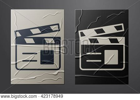 White Movie Clapper Icon Isolated On Crumpled Paper Background. Film Clapper Board. Clapperboard Sig