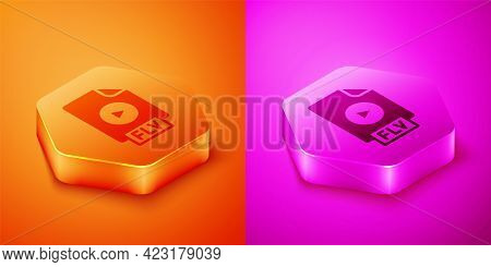 Isometric Flv File Document Video File Format. Download Flv Button Icon Isolated On Orange And Pink