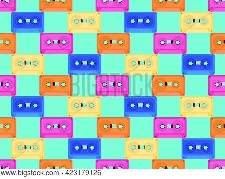 Cassette Tapes Seamless Pattern. Music Cassettes For Music Tape Recorders Of The 70s - 90s. Design F