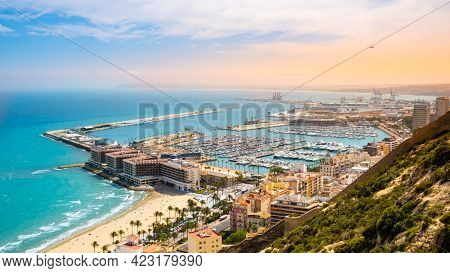Alicante, Beach And Port With Luxury Yachts And Sailboats From Above At Sunset. View Of Beautiful To