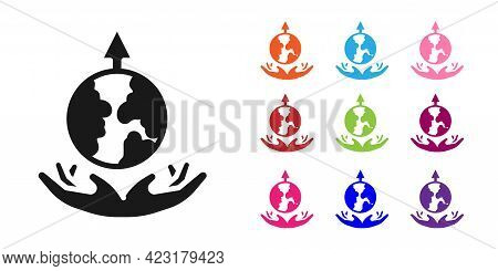Black World Expansion Icon Isolated On White Background. Set Icons Colorful. Vector