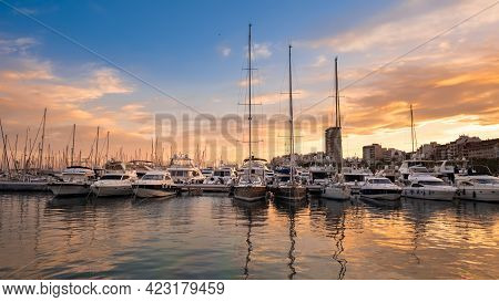 Alicante Port With Yachts And Sailboats At Sunset, Spain. Beautiful View Of Harbor In A Touristic To