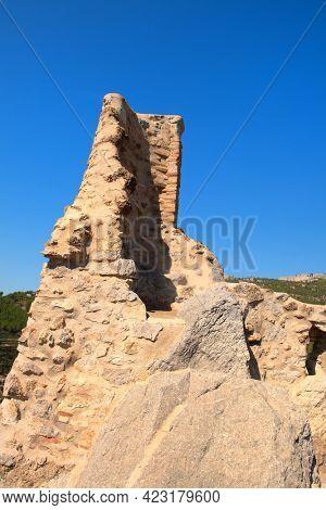 Ruin tower in Landscape at village Pratdip in Spanish Catalunya