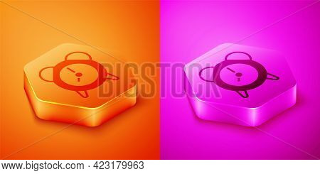Isometric Alarm Clock Icon Isolated On Orange And Pink Background. Wake Up, Get Up Concept. Time Sig