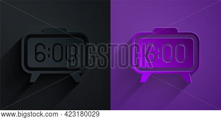 Paper Cut Digital Alarm Clock Icon Isolated On Black On Purple Background. Electronic Watch Alarm Cl