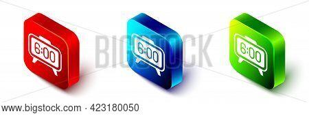 Isometric Digital Alarm Clock Icon Isolated On White Background. Electronic Watch Alarm Clock. Time