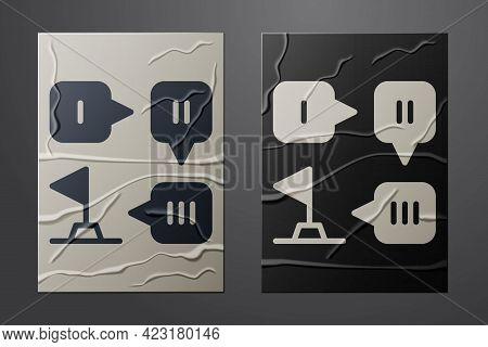 White Planning Strategy Concept Icon Isolated On Crumpled Paper Background. Formation And Tactic. Pa