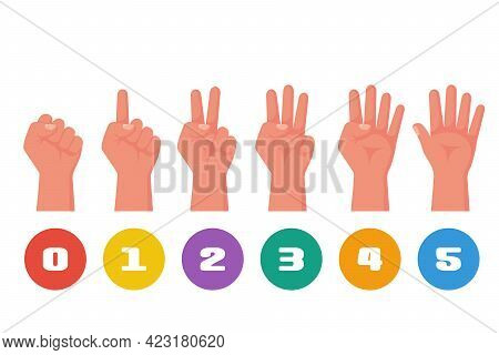 One, Two, Three, Four, Five Fingers, Fist Like Zero. 1 2 3 4 5. Hand Gestures And Numbers With Your