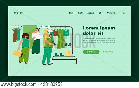 Happy Women Choosing Clothes In Store Flat Vector Illustration. Cartoon Female Consumers Watching Ga