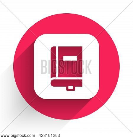 White Law Book Icon Isolated With Long Shadow. Legal Judge Book. Judgment Concept. Red Circle Button