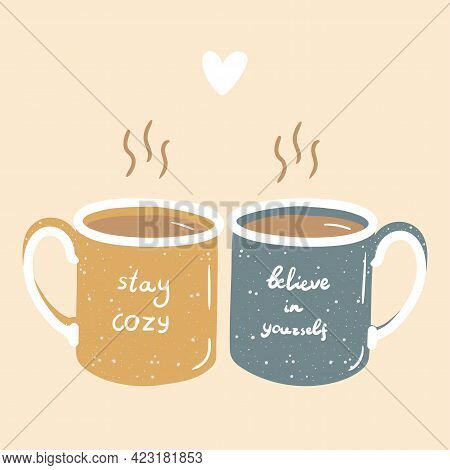 Two Hygge Love Couple Heart Cups Of Hot Tea Or Coffee In Yellow And Blue Colors Doodle Vector Hand D