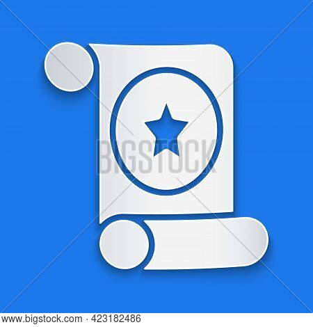 Paper Cut Magic Scroll Icon Isolated On Blue Background. Decree, Paper, Parchment, Scroll Icon. Pape